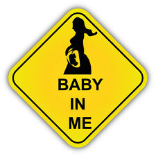 "Baby In Me Sign Pregnant Car Bumper Sticker Decal 5"" x 5"""