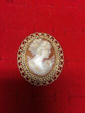 14K Yellow Gold Vintage Oval Carved Shell Cameo Brooch/Pin Or Pendant