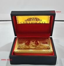 24K GOLD FOIL PLATED PLAYING CARDS $100 BENJAMIN WITH MAHOGANY BOX & CERTIFICATE