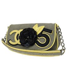 Auth CHANEL CC No.5 Camellia Chain Shoulder Bag Canvas Patent Leather GY 36W591