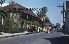 KODACHROME Red Border 35mm Slide Florida St. Augustine Horses Carriages 1950s!!!