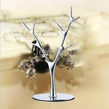 Jewelry Display Tree Stand Hanger Earrings Ring Necklaces Holder Show Silver