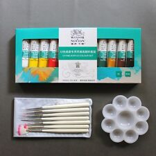Nail Art Polish Fine 12 Color Acrylic UV Gel Paint Set Pen Brush Display Palette