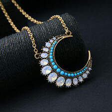 Dot & Line stella Opal turquoise beads Moon pendant dot gold chain long necklace