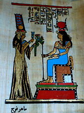 5 by 7 Egyptian Papyrus genuine hand painted Nefertari seating
