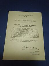 Vintage World War II Special Order of the Day Allied Force Headquarters Flier
