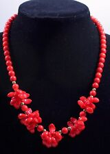 Vintage Red Glass Molded Bib Beaded Necklace 1970s
