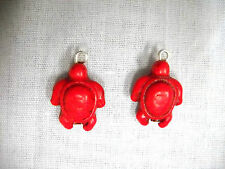 NEW HONU SEA TURTLE TRUE RED COLOR HOWLITE DANGLING 2 SIDED CHARM DROP EARRINGS