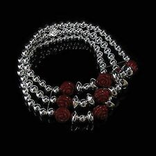 3 Strand 925 Sterling Silver Genuine Red Coral Carved Rose Bead Stretch Bracelet