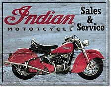 INSEGNA METALLO SMALTATO Indian Motocycles Sales & Service FINTO LEGNO