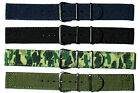 2 Piece Nylon Military Style Watch Strap. Black or Silver Fittings, 18mm or 20mm