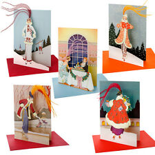 5 Art Deco La Mode Parisienne Die-cut Christmas Cards with Ostrich Feathers