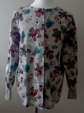 Teddy Bear Gingerbread Man Scrub Top Long Sleeves Size L Snaps Crest Poly Blend