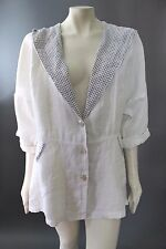 NWOT MOSAIC 100% Linen Flax White  & Navy Blue HOODED Cardigan JACKET Top S