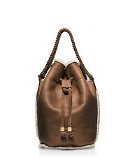 Tory Burch Shearling Drawstring Leather Fur Handbag Bucket Bag Purse NEW