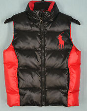 Boys' Ralph Lauren Tryol Black & Red Quilted Down Vest Size Large (14/16)