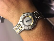 MINT CONDITION Must de CARTIER 21 Two Tones SS/18k Gold Plated Ladies Watch