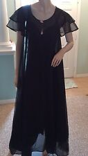 Val Mode Vintage Sexy Long Black Negligee Peignoir Set Size Small