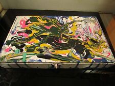 original abstract painting on wood cigar box by artist musk yai~