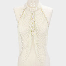 Body Chain Necklace Pearl Draped Chains Vest Top GOLD CREAM Celebrity Fashion