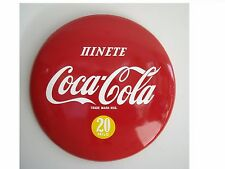 COCA COLA -CYPRUS- 1958-36 INCHES - 20 MILS-  BUTTON  PORCELAIN  SIGN  LAST ONE