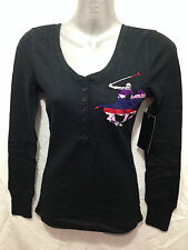 BNWT Womens Sz L/14 Beverly Hills Polo Club Black Long Sleeve Grandpa Style Top