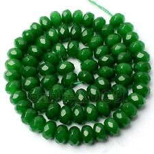 "5x8mm Genuine Natural Green Emerald Rondelle Gemstone Loose Beads 15""AAA"