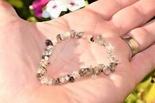 CHARGED Rutilated Tourmalinated Quartz Crystal Chip Stretchy Bracelet REIKI !
