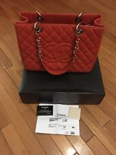 Chanel Red Orange Caviar GST Tote Leather Authentic SHW Shopper Chain
