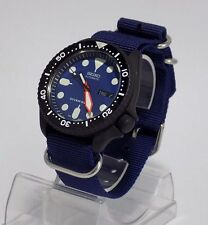 7S26 Seiko Mod Divers Watch Automatic SKX BLUE DIAL orange PLOPROF cerakote