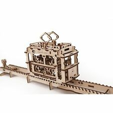 UGEARS TRAM with Rails Self-Propelled Mechanical Wooden Model Kit 3D Puzzle