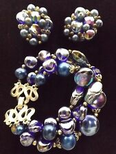 Trifari signed bracelet and earrings set blue stone glass bead silver