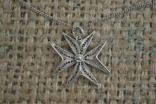 VINTAGE MALTESE CROSS silver filigree pendant necklace on chain