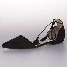 SALLY LACE UP FLATS by Just d Saym, Black