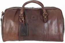 MENS QUALITY ROWALLAN LARGE BROWN LEATHER TRAVEL HOLDALL SHOULDER TOTE BAG 8890