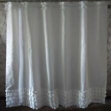 White Elegant Shabby Chic with Silver Glittery Stripes Bathroom Shower Curtain