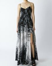 NWT $289 Religion Social Maxi Dress Gray Goth Geometric Empire High Slits XS S