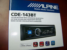 NEW ALPINE CDE-143BT IN DASH BLUETOOTH CD AM/FM REVEIVER