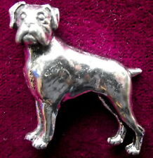 Pewter Boxer Dog Brooch Pin  Signed