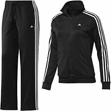 adidas Essentials Woman's Full Tracksuit 3-Stripes Black White Sporty Size XXS