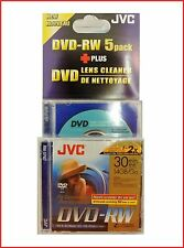 JVC DVD-RW 1.4GB 8cm 30min Camcorder Mini DVD Discs Pack 5 + Lens Cleaning Disc