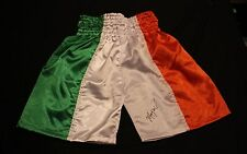 THE FIGHTER IRISH MICKY WARD AUTOGRAPHED SIGNED IRELAND FLAG BOXING TRUNKS