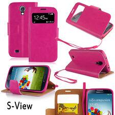 Samsung Galaxy S4 Cover pink Hülle S-View Stand Tasche Case Schutz Touch  Handy