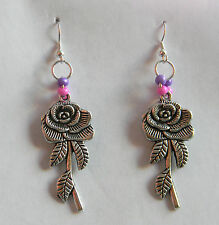 Purple & Pink Dangle Rose Earrings by Slave Violet Jewerly Made in the USA