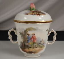 Antique Dresden Carl Thieme Covered Sugar Bowl or Pot de Creme