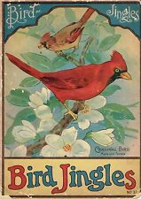 RARE 1916  BIRD JINGLES w/ COLOR LITHOGRAPHS by W.F. STECHER, Poems by HODGMAN