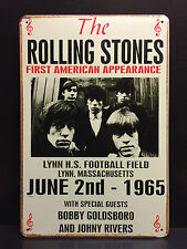 THE ROLLING STONES FIRST US CONCERT 1965 METAL SIGN WALL DECOR MUSIC 20X30 CM