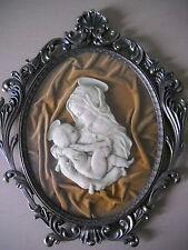bassorilievo scultura Madonna bambino cornice velluto anni 50 60 vintage antico