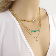 Women Charm New brand Multilayers Gold Beads Eye Ball Statement Choker Necklace