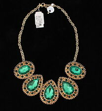 $32 Style & Co - Green Tear Drop Oval Rhinestone Frontal Collar Choker Necklace